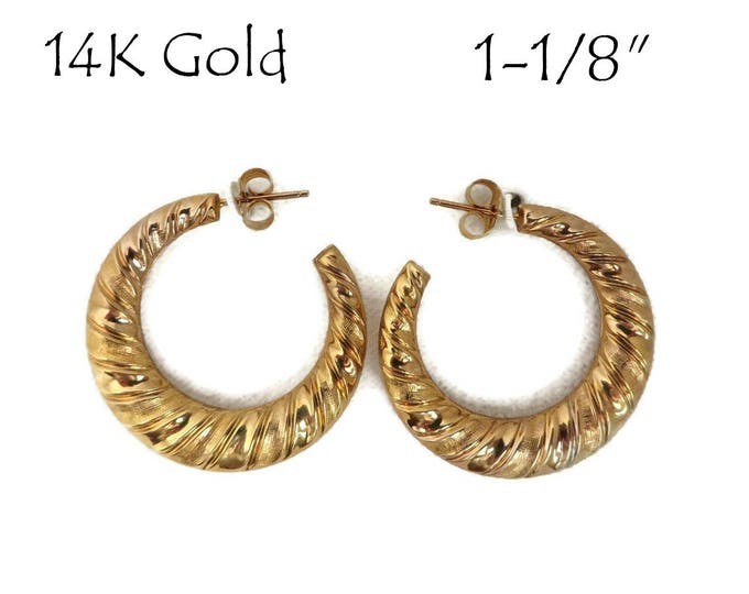 14K Gold Hoop Earrings - Vintage Ridged Gold Pierced Stud Earrings, Gift for Her, New Old Stock