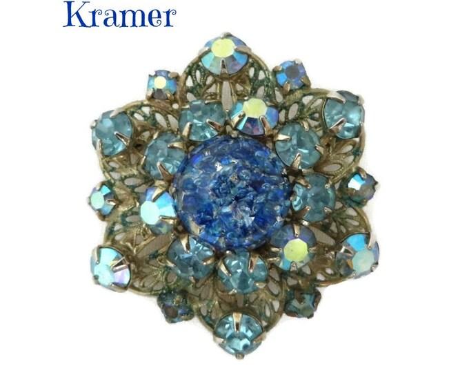 Vintage Kramer Brooch - Blue AB Rhinestone, Art Glass, Gold Metal Vintage Estate Jewelry, Gift idea, Gift Boxed
