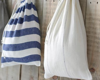 Set of 2 Linen Laundry Bags in White & Marine Style / Natural Hanging Linen Laundry Bags / Drawstring Linen Bag