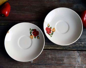 Set of 2 Vintage Red&Yellow Rose Design Made in England Two China Ivory Saucers Retro English Tableware Retro Home Decor Display Chinaware