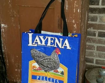 Repurposed, Recycled, Upcycled PURINA Chicken Feed Bag Tote Bag (poultry, barred rock, bantham, rooster, hen, eggs, chicken) GROCERY BAG