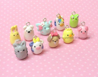Polymer Clay Charms, Animal Charms, Stitch Marker, Kawaii Clay Charm, Progress Keeper, Planner Charm, Cute Charms, Animal Pendant