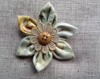 Handmade vintage fabric flower brooch,pin,corsage fashion for coat,hat,bag,scarf