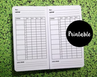 Personal size, Weight Training,  Log, Tracker, Traveler's Notebook Insert, Printable