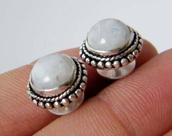 Rainbow Moonstone Stud Earrings, Moonstone Post Earrings, Silver Plated Stud Earrings, Moonstone Studs, Everyday Earrings SH-4584