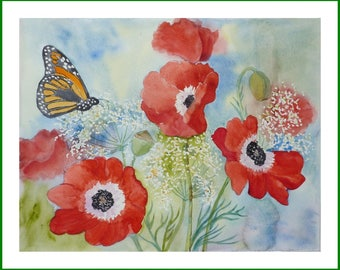 Watercolor - Bouquet of anemones and Butterfly