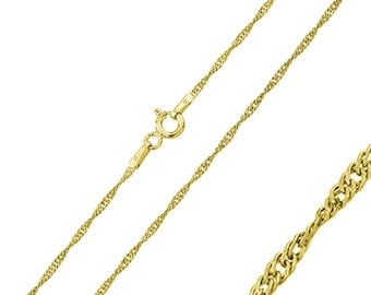 1.25mm 925 Sterling Silver Singapore Chain Necklace / Gold Plated made in italy(PLSGP015)