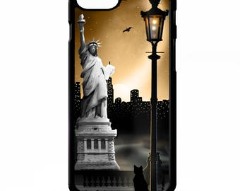 Statue of liberty NYC new york city skyline silhouette graphic cover for Samsung Galaxy S5 S6 s7 s8 plus edge note 4 5 phone case