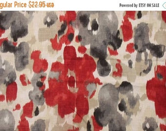 Red Grey Linen Floral Upholstery Fabric, Red Floral Drapery Fabric, Robert Allen Upholstery Fabric, Landsmeer Currant Fabric - by the yard
