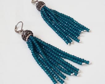 Tassel earrings, petrol blue, crystal earrings, elegant earrings, long earrings, evening earrings, gift for her, gift idea, precious earring