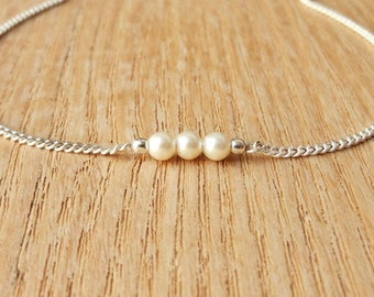 "Handmade Silver 925 bracelet and Pearl glass beads-""K"""