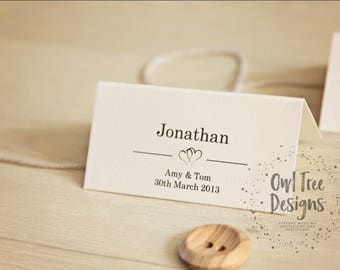 Personalised Wedding Table Place Name Seating Cards Heart
