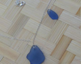 Cornflower blue seaglass necklace on sterling silver chain