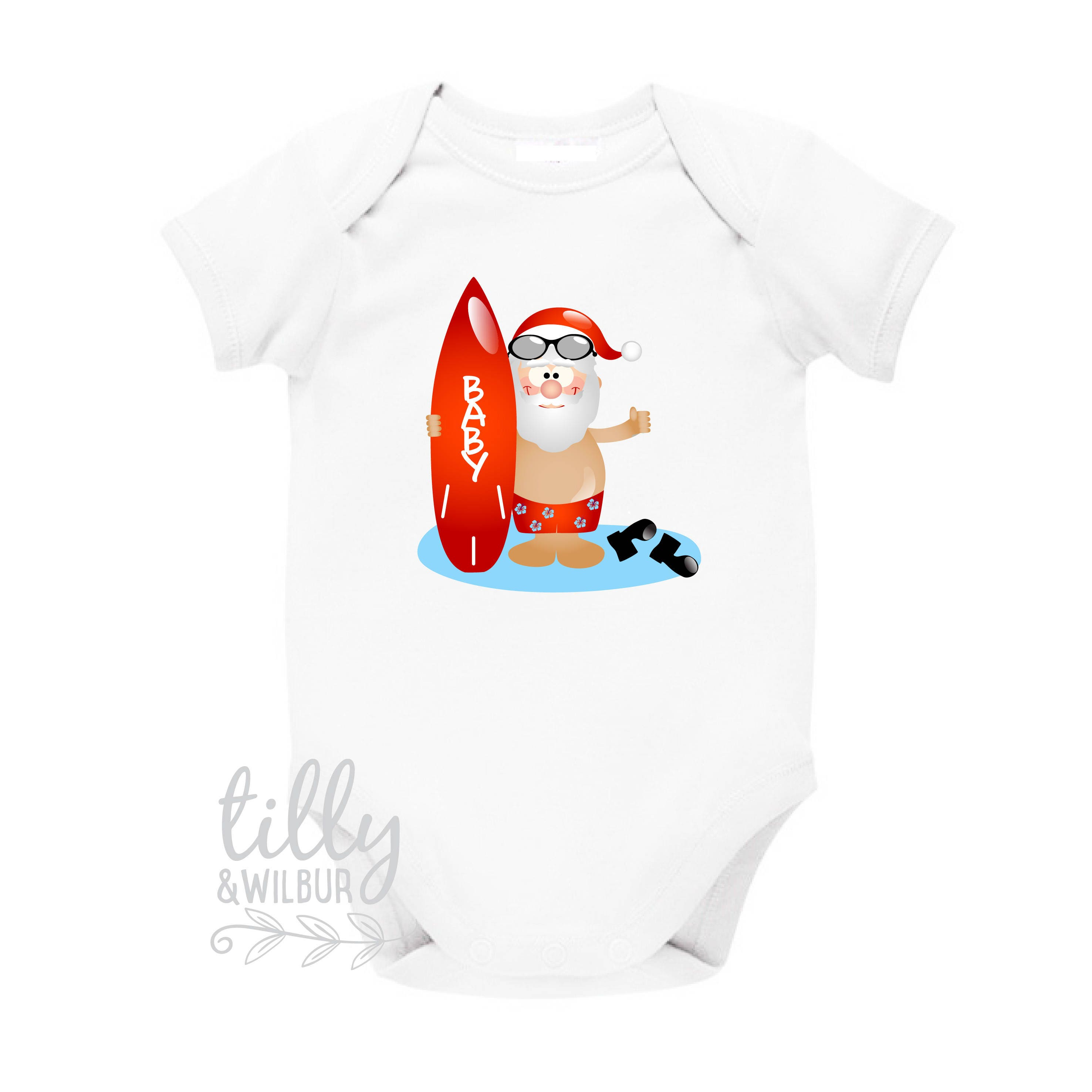 Tillywilbur personalised clothing gifts surfing santa personalised christmas baby bodysuit aussie xmas gift australian summer beach santa negle Choice Image