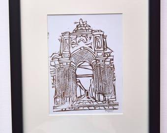 Morning Arch (Brown) A5 Linocut Print