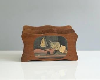 Wooden Letter Organizer / Vintage Wood Letter Holder / Vintage Wooden Letter Holder / Bill Organizer