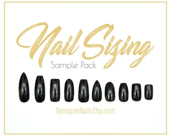 Designer press on nails by baroquennails on etsy press on nails sizing sample pack nail sizing kit full cover blank nails prinsesfo Choice Image