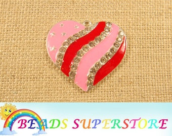 40 mm x 44 mm Pink & Red Heart Rhinestone Pendant - Chunky Necklace Pendant (RCP09)