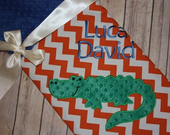 Alligator- Personalized Minky Baby Blanket with Embroidered Gator- Orange Chevron & Blue Minky
