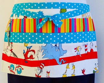 Teacher Apron, preschool daycare teacher half apron, utility apron, vendor hobby craft apron, Dr Seuss apron, teachers gift apron, 6 pockets