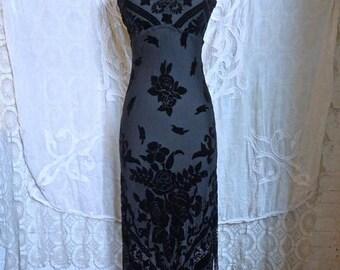 SUMMER SALE Black Silk Velvet Burnout Fringe Dress