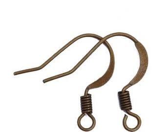 100 pcs Nickel Free Antique bronze earring hooks, Fishhooks.iron ear wire,brass ear hook,brass ear wire,antique bronze finding,ear hook