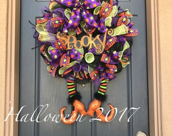 Witch Wreath Halloween Wreath Witch Hat and leg wreath Character Wreath Spooky Wreath Witch leg wreath