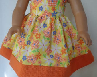 18 Inch Doll Clothes/18 Inch Summer Doll Dress/Beautiful Orange, Yellow, Green, Purple Flower Print / Matching Head Band with Bow