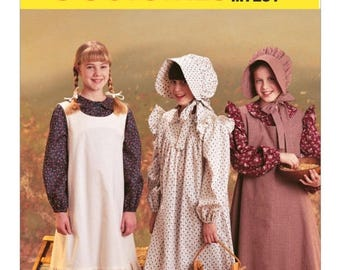 7231, McCalls,  Girls, Pilgrim, Colonial, Puritan, Little House on the Prairie, Peasant Early American Historical Pattern dress and bonnet