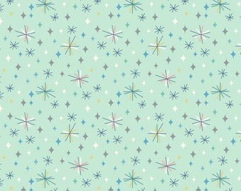 So Darling A289.2 - Retro stars on mint Lewis & Irene Patchwork Quilting Fabric