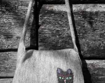 Gray Black felted women handbag  handemade