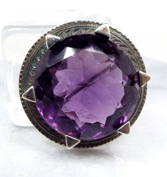 Antique Victorian Sterling Silver Scottish Purple Amethyst Engraved Brooch Pin