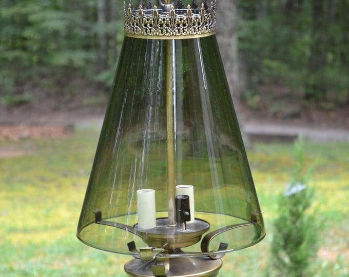 Vintage Smoke Glass Swag Lamp Hollywood Regency Light Fixture Pendant Filigree Smoky 3 Light Antique Brass PanchosPorch