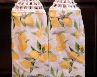 2 New Hanging kitchen towels with crocheted top / Lemons bl