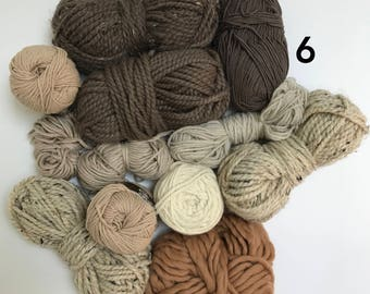 Deluxe Yarn Sampler // Curated Yarn Bundle // Weaving Crafting School Home Projects Party Decor // Warm Neutrals Multi Pack // Stash Sale