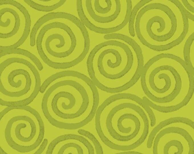5/8 Yard Curiosities - Whirligig in Pistachio Green  - Little Girl Fabric Line Designed by Nancy Halvorsen for Benartex (W922)