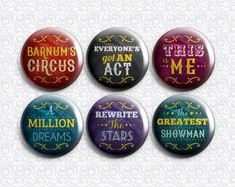 The Greatest Showman P. T. Barnum's Circus Musical 6 Pack - Pinback Badge / Magnets / Sticky