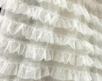 2 Color, Soft Fold Ruffled Tulle Lace Fabric for Weddings, Tutu Dress, Bloomers, Photography Prop Backdrop