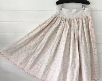 Pink Flowered Circle Skirt Vintage Hungarian Folk Skirt with Hand Embroidered Dark Pink Scalloped Hem