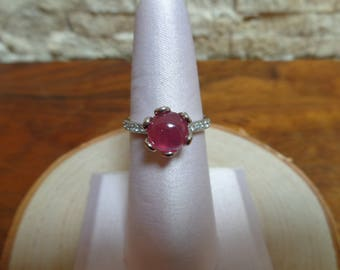 Ruby Cabichon ring in Sterling Silver with Pave CZ Size 6 1/2