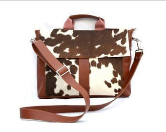 Western Cowhide 15'' Computer Business Briefcase Shoulder Laptop Bag -11