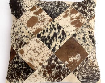 Natural Cowhide Luxurious Patchwork Hairon Cushion/pillow Cover (15''x 15'')a123