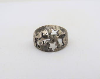 Vintage Sterling Silver Moon & Star Dome Ring Size 8.75