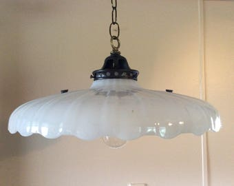 Vintage Large  Art Deco Milkglass Pendant Light Scalloped Edge Clam Broth Shade 1910s