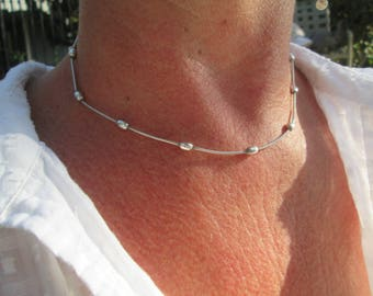 Sterling Silver Ball Choker Necklace