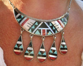 Zuni Multi-stone Traditional Pattern Inlay and Sterling Silver Necklace