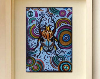 ACEO Insects Collectible Insect ATC Original painting Free Shipping ACEOs cards Acrylic painting Nature insects Original ACEOs