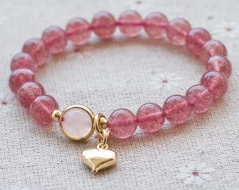 7mm Strawberry Quartz Bracelet/ ft. Heart pandent & moonstone
