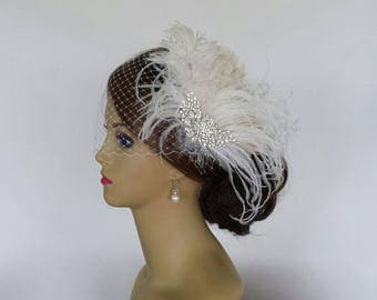 "BRIDAL HEADPIECE With or Without Birdcage Veil, Vintage Bridal Hair Accessory, Feather Bridal Headpiece ""OLIVIA"""