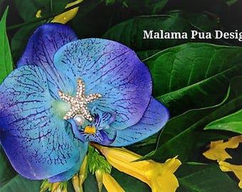 Tropical hair accessory, blue or white real touch orchid, Bridal hair flower, Wedding headpiece, Hawaiian Beach wedding, Fascinator,Starfish